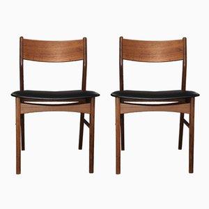 Danish Teak & Leatherette Dining Chairs, 1970s, Set of 2