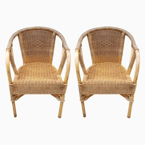Rattan and Bamboo Lounge Chairs, 1960s, Set of 2