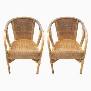 Sessel aus Rattan & Bambus, 1960er, 2er Set
