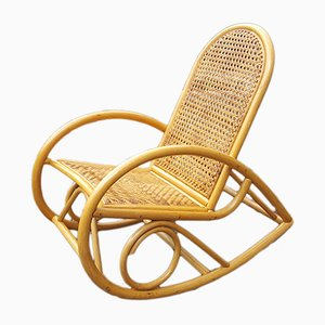 Bohemian French Bamboo and Wicker Rocking Chair, 1980s
