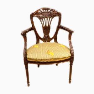 Antiker Armlehnstuhl aus Mahagoni und Seide
