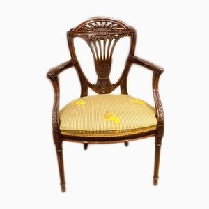 Antique Mahogany and Silk Armchair