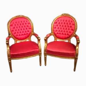 Antique Louis XVI French Wooden Armchairs, Set of 2