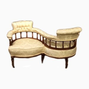 Antique Edwardian Mahogany Loveseat Bench