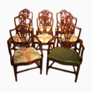 Antike George III Esszimmerstühle aus Mahagoni, 8er Set