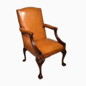 Fauteuil Style George III Antique en Cuir et Acajou