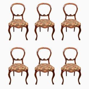 Antike Esszimmerstühle aus Nussholz, 6er Set