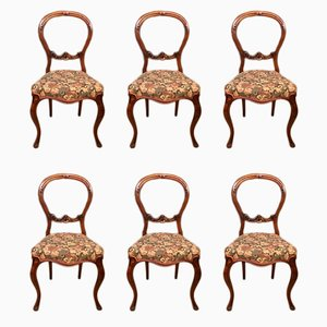 Antique Walnut Dining Chairs, Set of 6