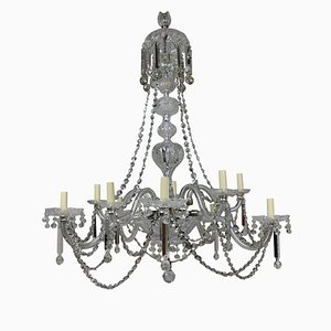 Large Antique English Cut Glass Chandelier