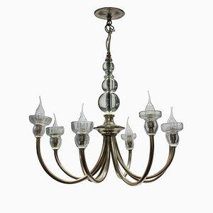 Lámpara de araña francesa Mid-Century de vidrio y metal, años 50