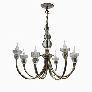 Mid-Century French Glass and Metal Chandelier, 1950s