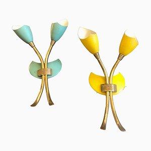 Mid-Century Wandlampen aus Messing, 1950er, 2er Set
