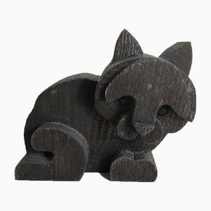 Skulptur aus Holz in Katzen-Optik von Orvieto Michelangeli, 1980er