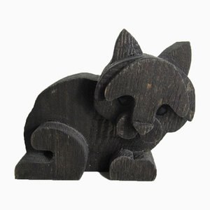 Wooden Cat Sculpture by Orvieto Michelangeli, 1980s