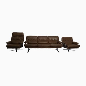 Swedish Leather Living Room Set by Arne Norell for Vatne Mobler, 1960s