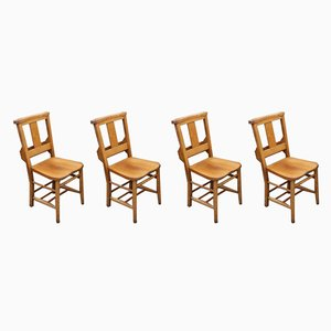 Beech Dining Chairs with Elm Seats, 1920s, Set of 4