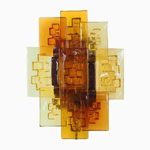Lámpara de pared danesa brutalista de vidrio de Svend Aage Holm Sørensen, años 60