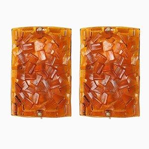 Lámparas de pared de vidrio ámbar de Vitrika, años 60. Juego de 2