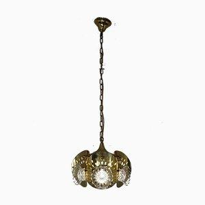 Lampada da soffitto in ottone e vetro, Italia, anni '60