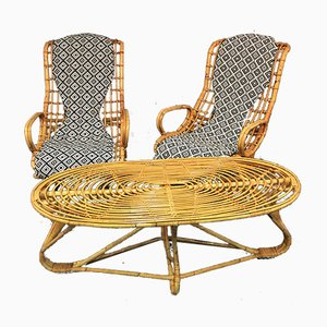 Vintage Italian Rattan Lounge Chairs & Table Set, 1960s