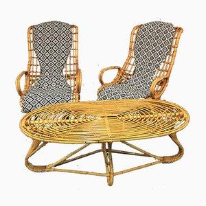 Vintage Italian Rattan Lounge Chairs & Table Set, 1960s