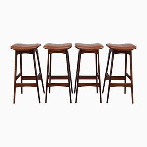Tabourets de Bar en Palissandre et en Cuir par Erik Buch pour Dyrlund, 1960s, Set de 4
