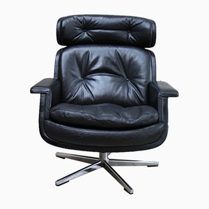 Black Leather Swivel Lounge Chair by Eugen Schmidt for Soloform, 1960s