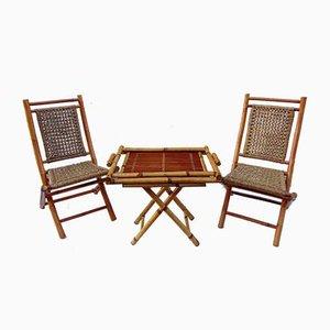 Conjunto de sillas y mesa de jardín de bambú, años 80