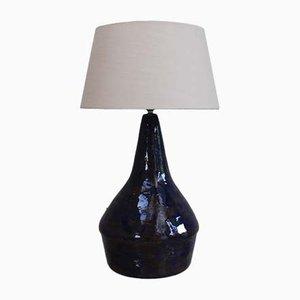 Lampada in ceramica blu e stoffa color crema, 1973