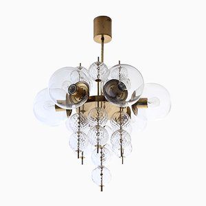 Brass and Hand-Blown Glass 6-Light Chandelier from Kamenický Šenov, 1960s