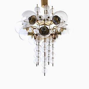 Brass and Hand-Blown Glass 10-Light Chandelier from Kamenický Šenov, 1960s