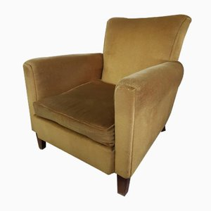 Mid-Century Danish Beech and Gold Velour Armchair, 1960s
