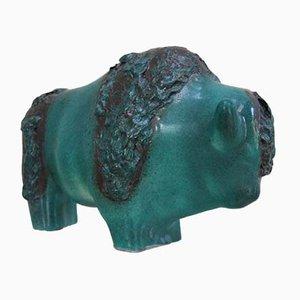 Bisonte in ceramica verde di Kurt Tschörner per Otto Keramik, anni '60