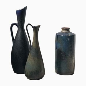 Blue Stoneware Vases by Carl-Harry Stålhane & Gunnar Nylund for Rörstrand, 1950s, Set of 3