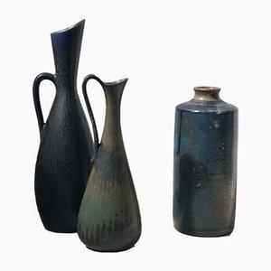 Vases Bleus en Grès par Carl-Harry Stålhane & Gunnar Nylund pour Rörstrand, 1950s, Set de 3