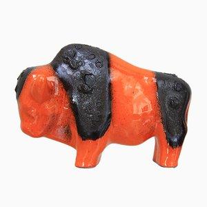 Bisonte in ceramica arancione di Kurt Tschörner per Otto Keramik, anni '60