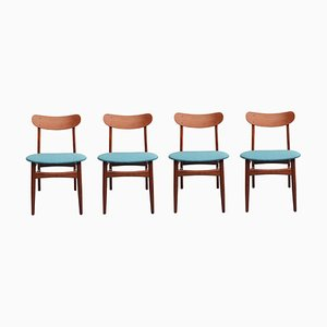 Danish Petrol Fabric & Teak Dining Chairs, 1960s, Set of 4