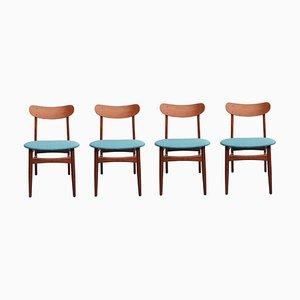 Danish Petrol Fabric & Teak Dining Chairs, 1960s, Set of 4