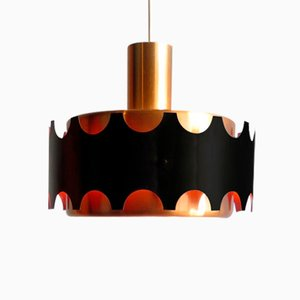 Golden Aluminium & Black Pendant Lamp from Doria Leuchten, 1960s