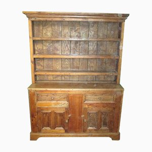 Antique English Elm China Cabinet