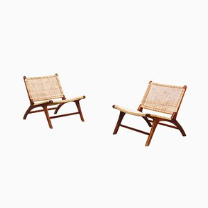 Danish Cane Lounge Chairs, 1960s, Set of 2