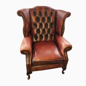 Vintage Oxblood Leather and Elm Wingback Chesterfield Armchair, 1970s