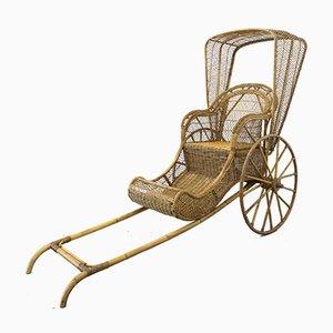Rickshaw de bambú y mimbre, años 70