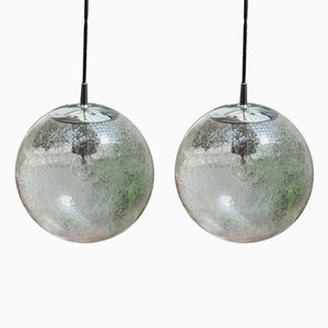 Chrome and Glass Globe Lamps from Peil & Putzler, 1960s, Set of 2