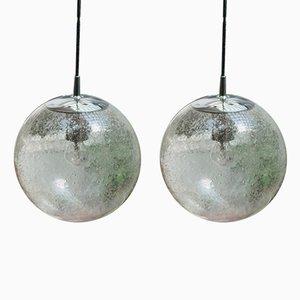 Lampes Globe en Chrome et Verre de Peil & Putzler, 1960s, Set de 2