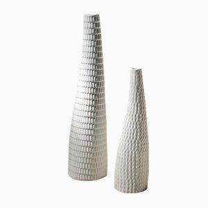 Vasen aus Keramik mit Reptil-Struktur von Stig Lindberg für Gustavsberg, 1953, 2er Set