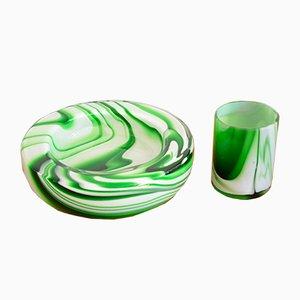 Juego de cuenco y taza de cristal de Murano de Carlos Moretti, años 70
