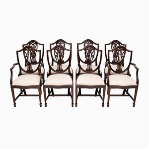 Vintage Esszimmerstühle aus Mahagoni im Sheraton Stil mit Schildrücken, 8er Set