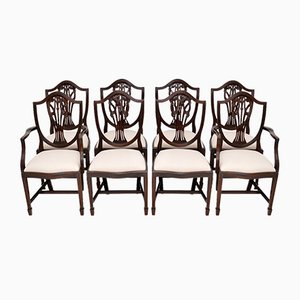 Vintage Sheraton Style Mahogany Dining Chairs with Shield Backs, Set of 8