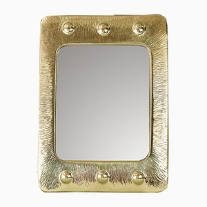 Art Deco Hammered Brass Mirror, 1920s